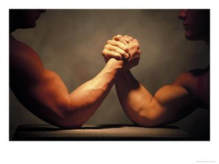 Arm wrestlers wrestling